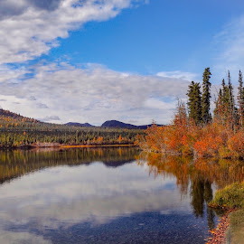Partly Cloudy Day by Patricia Phillips - Landscapes Travel ( alaska tonsina travel clouds reflections lakes )