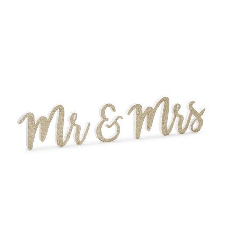 Träskylt - Mr & Mrs, guld