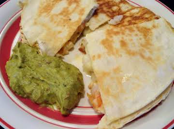 Lime Shrimp Quesadillas with Adobo Guacamole