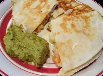 Lime Shrimp Quesadillas with Adobo Guacamole