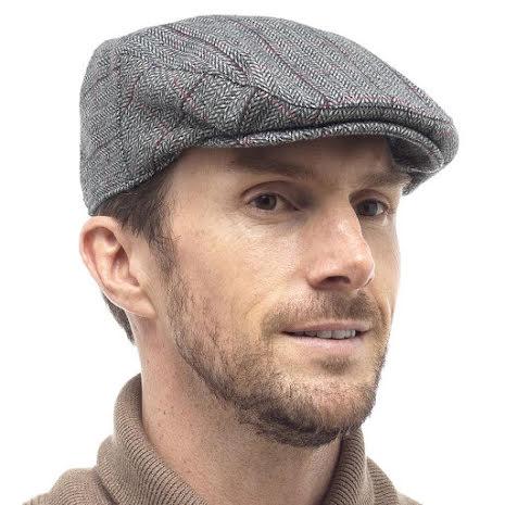 Tom Frank flat cap, grå med röd rand