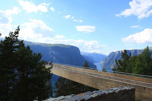 Norway-Flam-Stegastein - The Stegastein lookout near Flam, Norway, can be reached by tour bus.