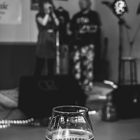 Optimist's View by Chris Reynolds - Black & White Objects & Still Life ( music, black and white, elkins wv, beer )