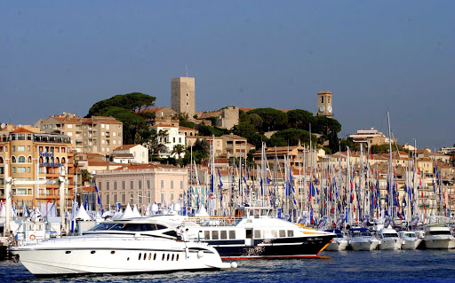 France-Cannes-harbor.jpg - The harbor and old quarter of Cannes, France.