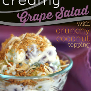 Creamy Grape Salad with Crunchy Coconut Topping.