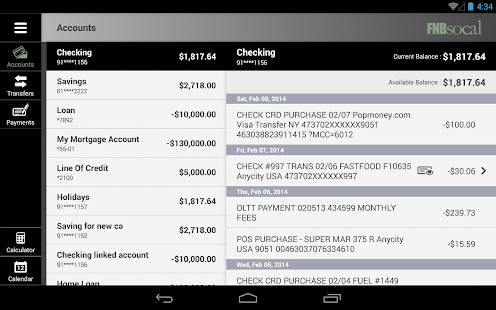 FNBsocal Mobile Banking Tablet- screenshot thumbnail