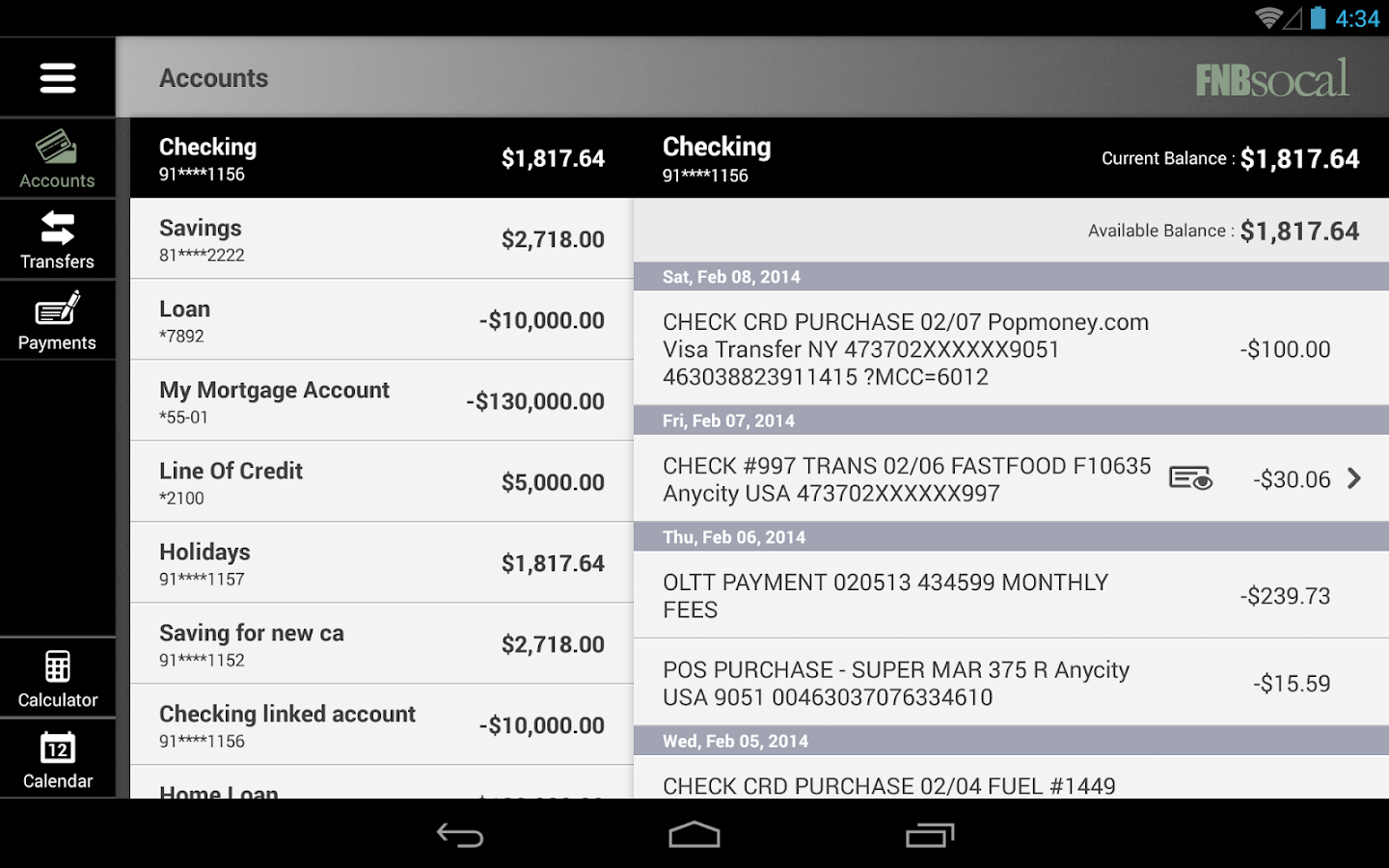 FNBsocal Mobile Banking Tablet- screenshot