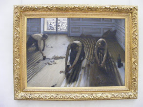 """Photo: Caillebotte's """"The Floor Scrapers,"""" which has special meaning for one of my research projects (any more is both complicated and boring …). More interesting, from the Orsay Web site: This painting is one of the first representations of urban proletariat. Whereas peasants (Gleaners by Millet) or country workers (Stone Breakers by Courbet) had often been shown, city workers had seldom been painted. Unlike Courbet or Millet, Caillebotte does not incorporate any social, moralizing or political message in his work. His thorough documentary study (gestures, tools, accessories) justifies his position among the most accomplished realists. Caillebotte had undergone a completely academic training, studying with Bonnat. The perspective, accentuated by the high angle shot and the alignment of floorboards complies with tradition. The artist drew one by one all the parts of his painting, according to the academic method, before reporting them using the square method on the canvas. The nude torsos of the planers are those of heroes of Antiquity, it would be unimaginable for Parisian workers of those times. But far from closeting himself in academic exercises, Caillebotte exploited their rigor in order to explore the contemporary universe in a completely new way. Caillebotte presented his painting at the 1875 Salon. The Jury, no doubt shocked by its crude realism, rejected it (some critics talked of """"vulgar subject matter""""). The young painter then decided to join the impressionists and presented his painting at the second exhibition of the group in 1876, where Degas exhibited his first Ironers. Critics were struck by this great modern tableau, Zola, in particular, although he condemned this """"painting that is so accurate that it makes it bourgeois""""."""