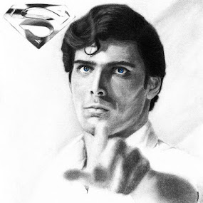 CK, The Symbol by Franky Go - Drawing All Drawing ( dc, heroes, superman, comic, hollywood, actor, drawing, portrait, celebrity, christopher reeves, doomsday, legend, reeves, dc comic, smallville, pencil drawing, justice league, cancer, realism, superboy )