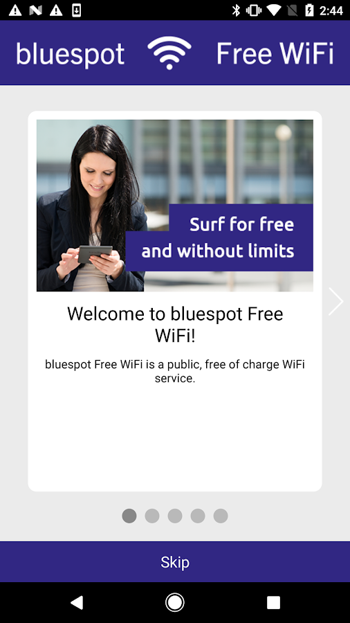 bluespot Free WiFi – Screenshot