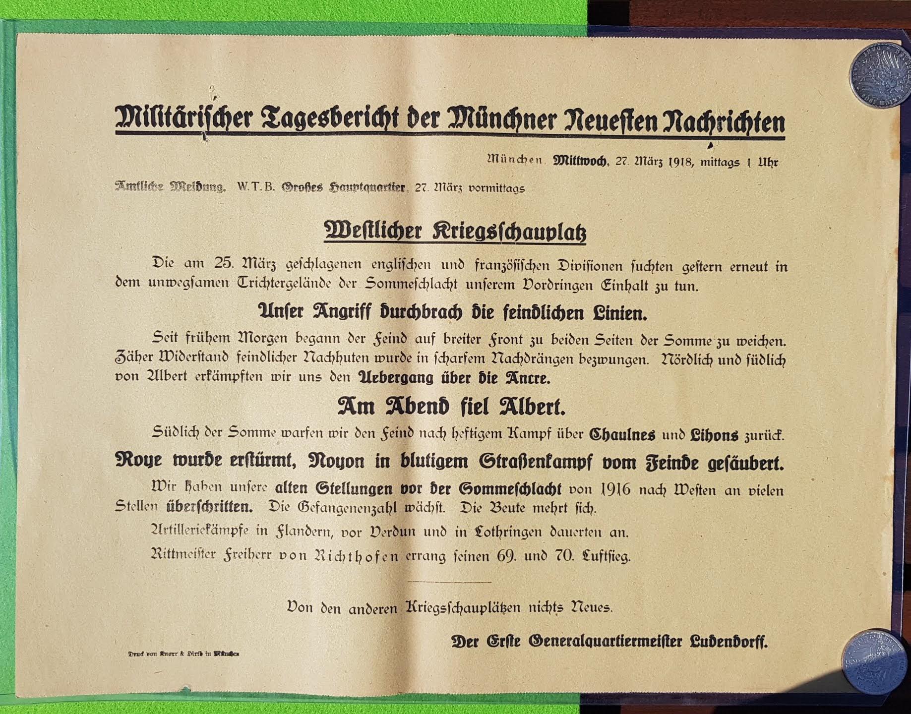 Militärischer Tagesbericht vom 27. März 1918