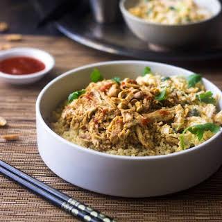 Slow Cooker Thai Peanut Chicken Quinoa Bowls.