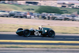 """Photo: August 1969; photo by Ron Nash; Weldon Nash """"at speed"""" at Aqua Festival Race in Austin, Texas; This was a street race around the Austin Convention Center."""