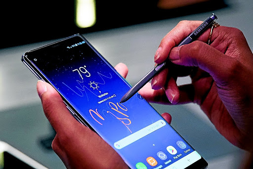 The new Samsung Galaxy Note8 smartphone during a launch event in New York City.