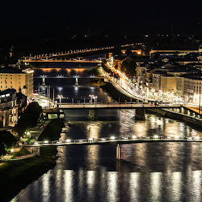 City of Salzburg At Night  by Franz  Adolf - City,  Street & Park  Night ( salzburg, night, austria )