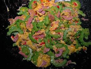 Photo: stir-fried bittermelon with sour sausage & eggs