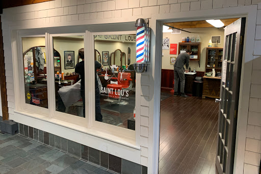Front door of Saint Lou's Barbershop
