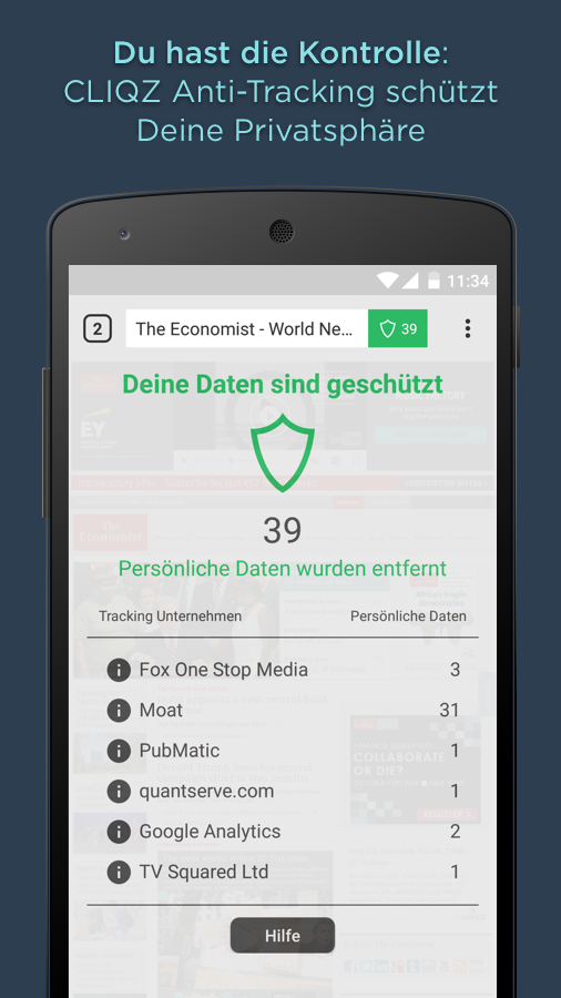 CLIQZ Browser + Suchmaschine – Screenshot