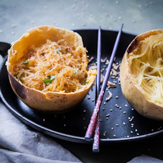 Spaghetti Squash Bowl in Spicy Asian Sauce.