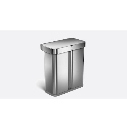 Röst och rörelsestyrd 2-fackssoptunna 58 liter, Borstat stål