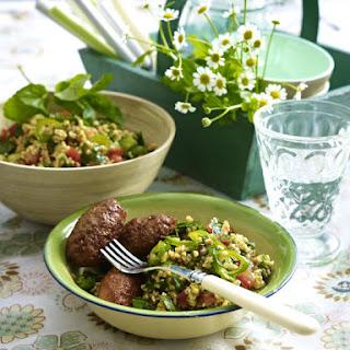 Turkish Kofte Meatballs with Bulgar Salad.