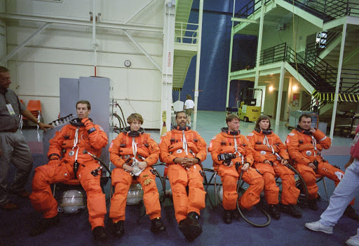 STS-63 crewmembers during egress training