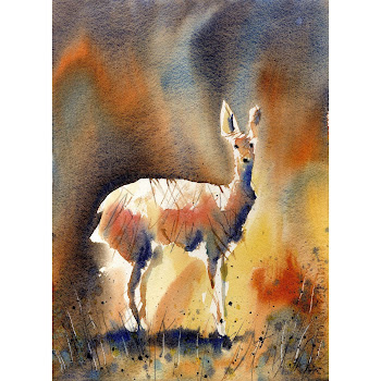 British wildlife painting deer original art