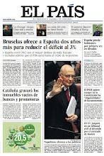 """Photo: Bruselas ofrece a España dos años más para reducir el déficit al 3%, Cataluña gravará los inmuebles vacíos de bancos y promotoras, España pierde habitantes por primera vez en décadas y El PSOE quiere recoger en la Constitución las """"singularidades"""" de las autonomías, en la portada de EL PAÍS del martes 23 de abril. http://srv00.epimg.net/pdf/elpais/1aPagina/2013/04/ep-20130423.pdf"""