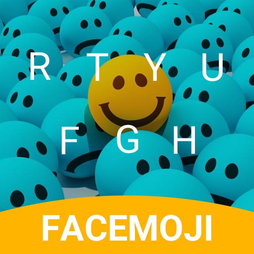 Blue Smiley Emoji Keyboard Theme for Instagram