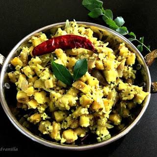 Kela Upkari/Raw Banana Curry (South Indian Style Plantain Stir Fry) Recipe