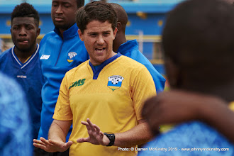 Photo: Coach McKinstry speaks with players at the conclusion of training [Rwanda Training Camp before AFCON2017 Qualifier Vs Ghana on 5 Sep 2015 in Kigali, Rwanda.  Photo © Darren McKinstry 2015]
