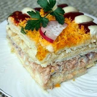 Fish Salad — Cake With Crackers.