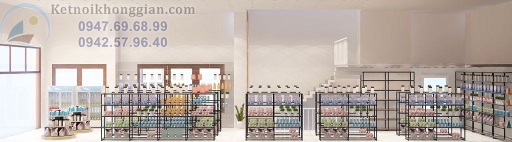 thiết kế cửa hàng tạp hóa, siêu thị mini