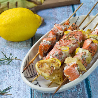 Salmon Kebobs with Rosemary.