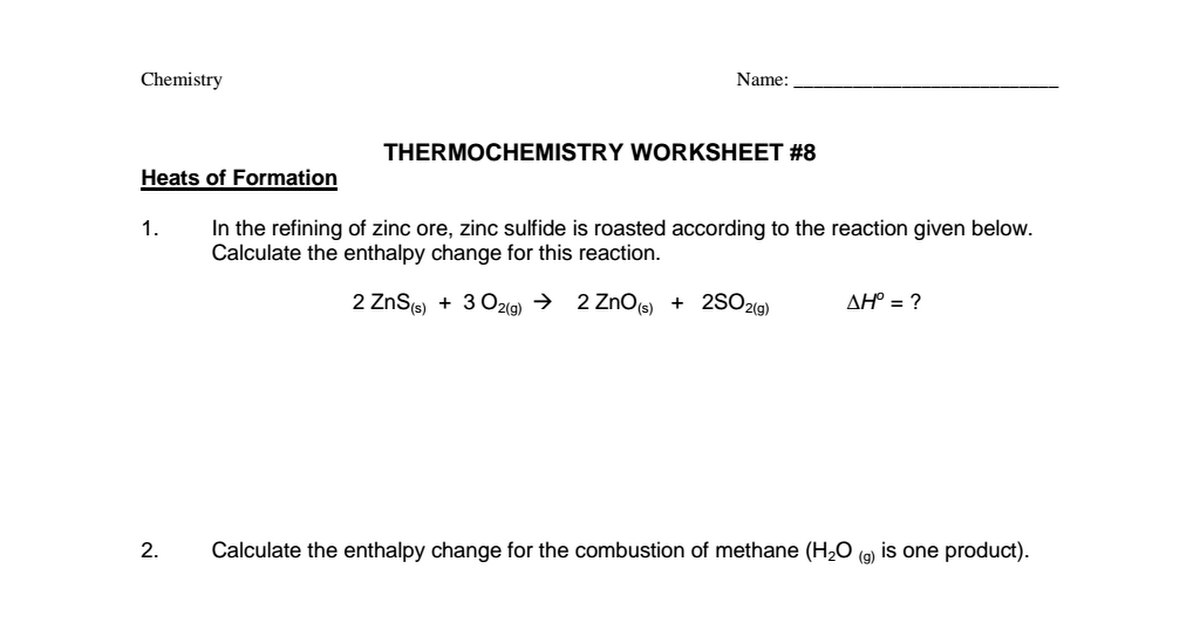 Thermochemistry Worksheet 8pdf Google Drive