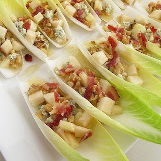 Endive Leaves Filled with Bleu Cheese, Toasted Walnuts, Anjou Pear, and Bacon