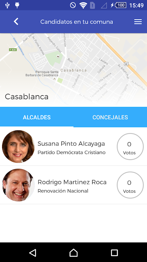 Candidatos Municipales 2016: captura de pantalla