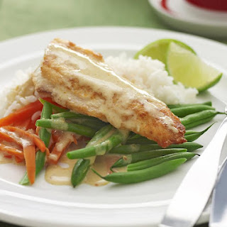 Pan Fried Fish with Thai Curry Sauce.