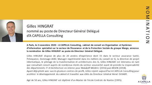 Nomination Gilles HINGRAT