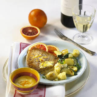 Tuna Steaks and Mixed Vegetables with Orange Sauce.