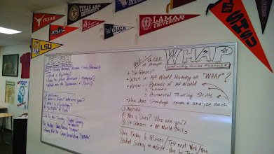 Photo: Side board for agenda, objectives/targets, and essential questions.
