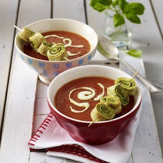 Tomato Soup with Savory Pesto Crepes