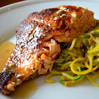 Pan-Seared Salmon with Lemon-White Wine Sauce.