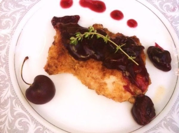 Place chicken on plate. Spoon the Cherry sauce over each serving of chicken,and serve.