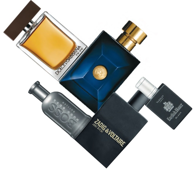 Clockwise from top left: Dolce & Gabbana The One For Men; Versace Dylan Blue; Yardley English Blazer Black; . Zadig & Voltaire Just Rock!; Hugo Boss Hugo Boss BOSS Bottled Man of Today limited edition.