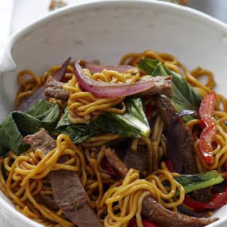 Five Spice Pork Noodles with Bok Choy.
