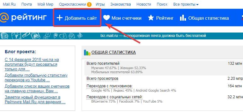 Добавления счетчика на сайт top.mail.ru