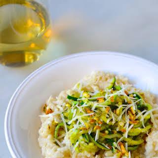 Parmesan Risotto with Zucchini Noodles and Pistachio Pesto.