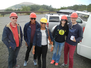 Photo: Our tour group put on hard hats to visit one of the caves created by a lava flow. The mountain is riddled with caves created by gaps in the flows.