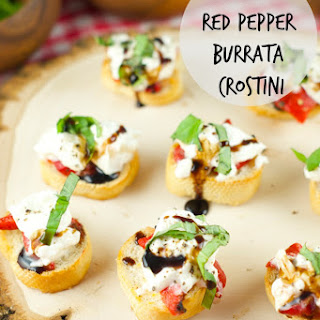 Roasted Red Pepper Burrata Crostini